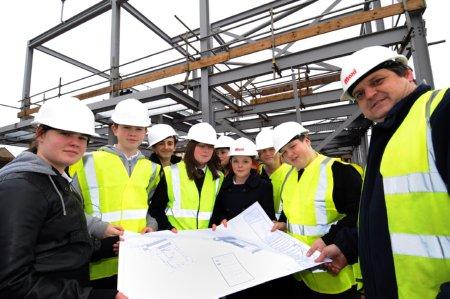 Pupils from Auchenharvie Academy take a keen interest  visit to Stevenston Business Centre site.